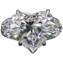 GIA Certified 4 Carat Certified Heart Shape Diamond Ring