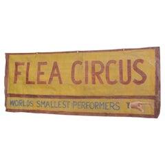 Flea Circus Canvas Banner, circa 1950s