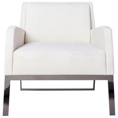 Fleet Street Lounge Chair by Yabu Pushelberg in White Textured Wool