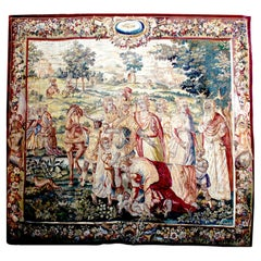 """Flemish 17th-18th Century Baroque Historical Tapestry Fragment """"A Royal Family"""""""