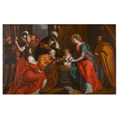 Flemish 17th Century Oil on Canvas Painting of the Adoration of the Magi
