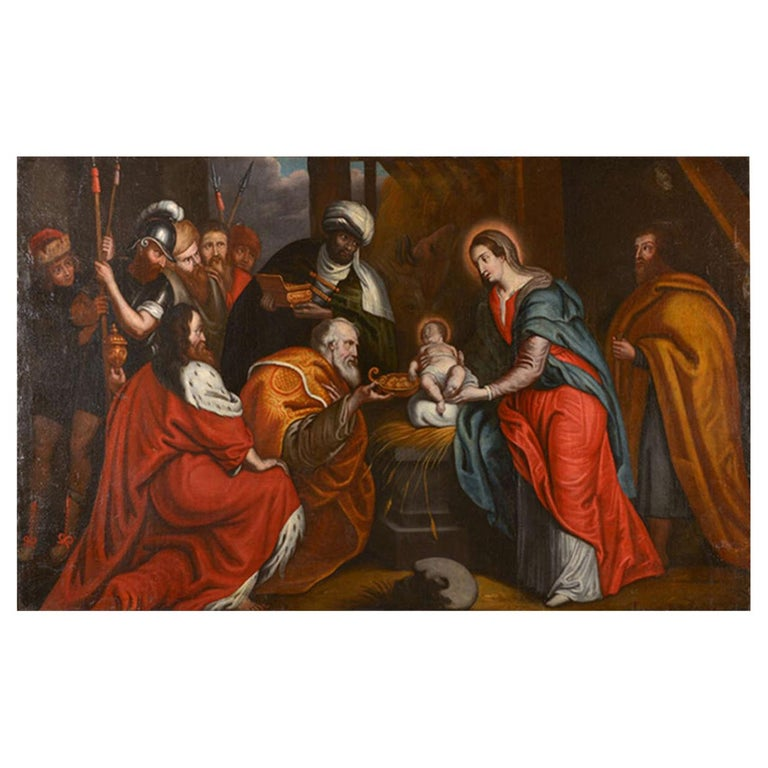 Flemish 17th Century Oil on Canvas Painting of the Adoration of the Magi For Sale