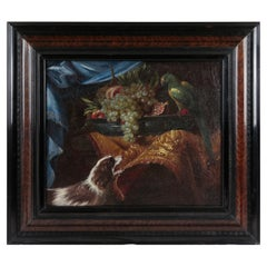 Flemish 17th Century Oil Painting with Dog & Parrot, Still Life Painting, Framed