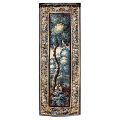 Flemish 18th-19th Century Verdure Landscape Tapestry Panel Centered with a Tree