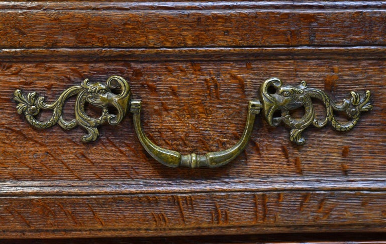 Flemish Baroque Chest of Drawers in Rich European Oak, circa 1770 For Sale 3