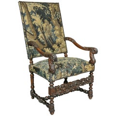 Flemish Baroque Walnut And Tapestry Upholstered Armchair