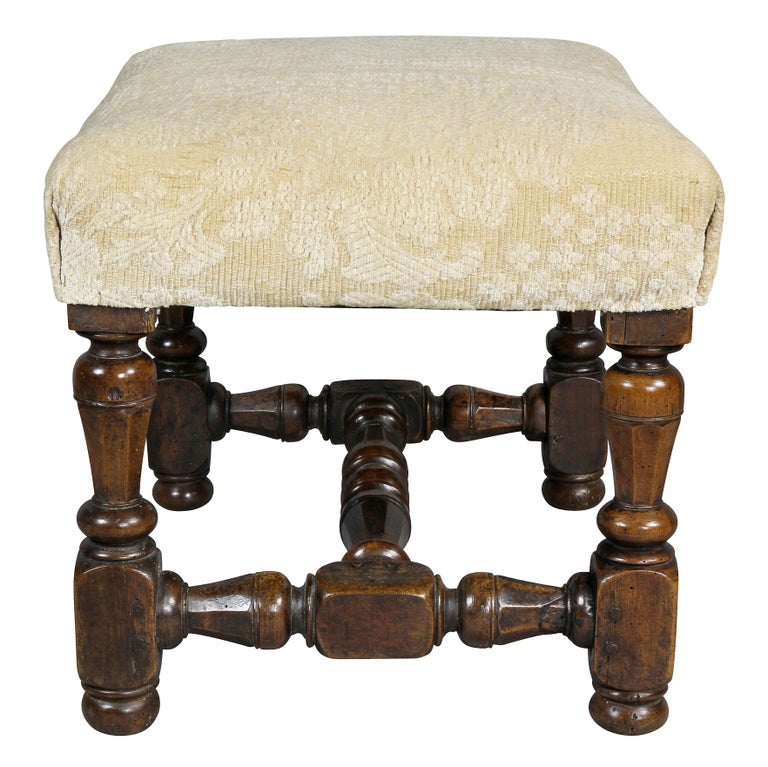 Flemish Baroque Walnut Footstool 1