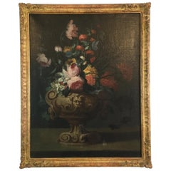Flemish Floral Painting in Giltwood Frame