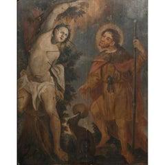 Saint Sebastian And Saint Roch, Flemish / German School - Oil On Panel