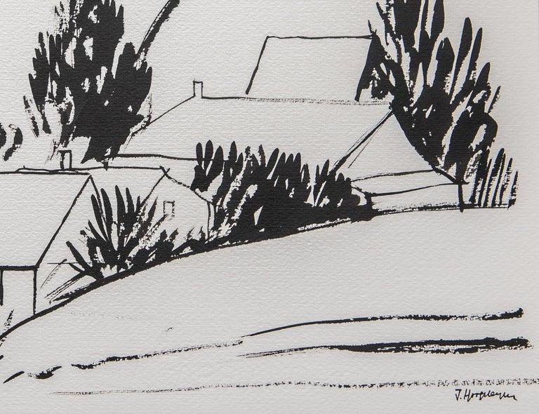 Modern Flemish Landscape Unframed Drawing Ink 100% Cotton Paper Black & White Intimist For Sale