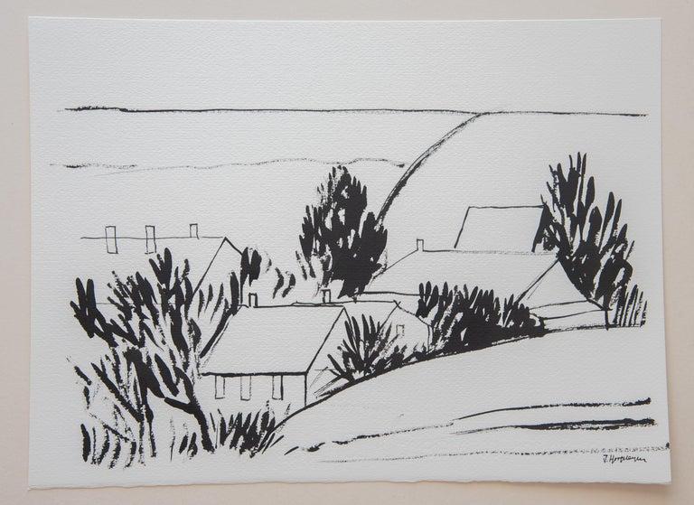 Belgian Flemish Landscape Unframed Drawing Ink 100% Cotton Paper Black & White Intimist For Sale