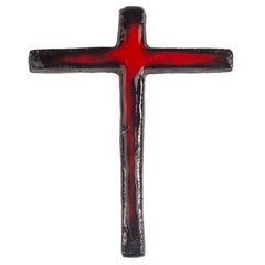 Flemish Midcentury Wall Cross, Red, Black, Glazed Ceramic, Handmade, 1970s