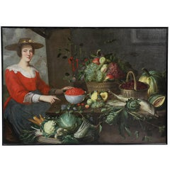 Flemish Oil on Canvas Still Life of Vegetables with Seated Woman