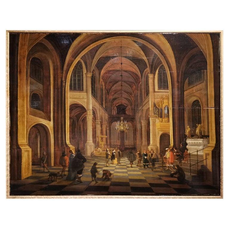 "Flemish School 17th Century "" Interior of a Church "" For Sale"