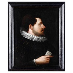 """Flemish School of the 17th Century """"Portrait of a Nobleman with a Letter"""""""