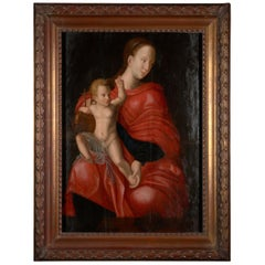 Flemish School, Painting of Madonna and Child, Oil on Panel, Framed