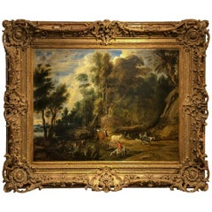 Flemish School, the Watering Hole, 17th Century Landscape and Figurative