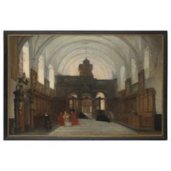 Flemish Shool, Interior of an Old Church Parrish, Oil on Canvas Framed