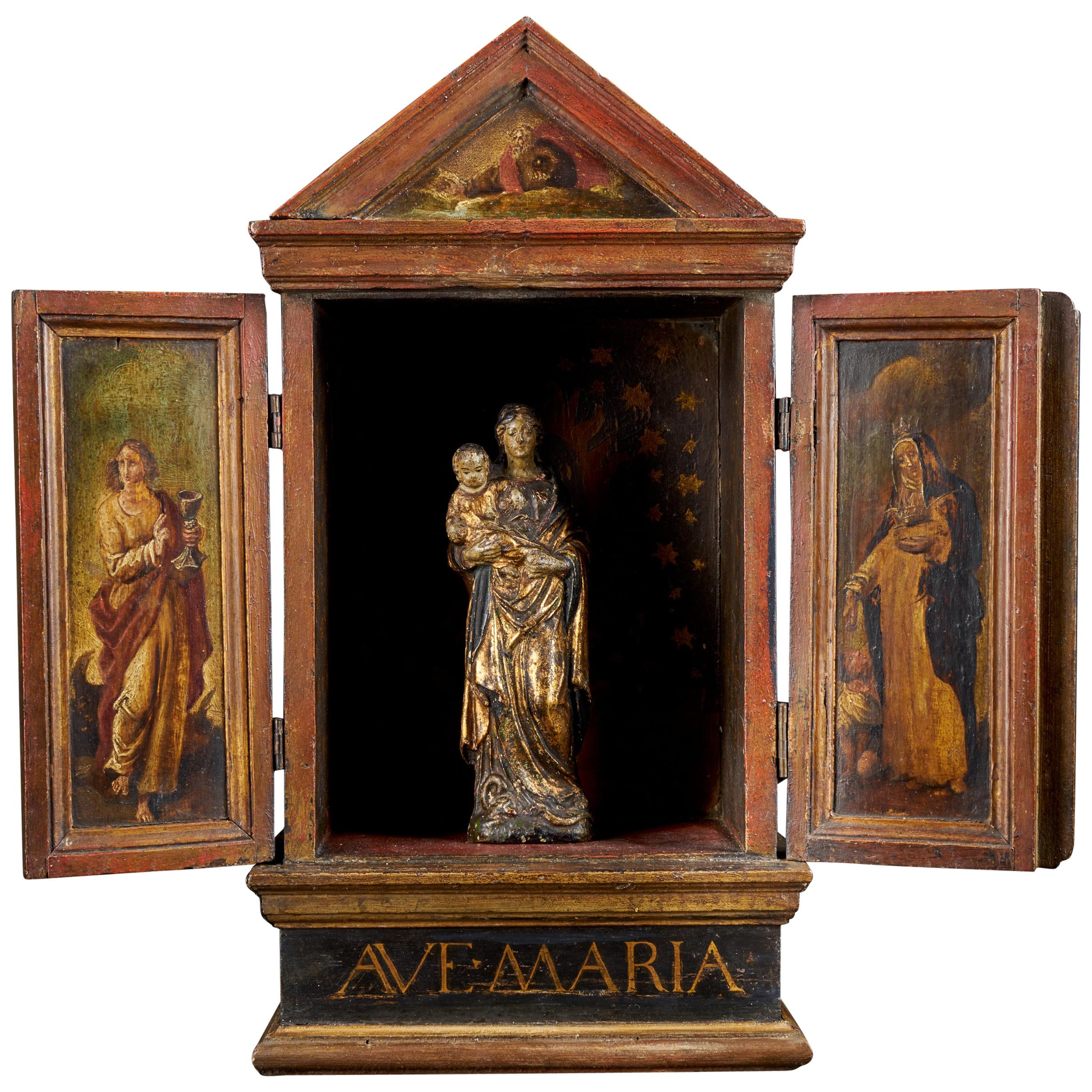 Flemish Small Terracotta Statue in Wooden Reliquary with Decorated Doors