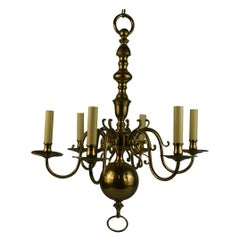 Flemish Solid Brass 6 Ornate Arm Chandelier