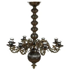 Flemish Style Tarnished Silver Chandelier in the Baroque Taste