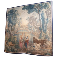 Flemish Tapestry 18th C Pastoral Landscape with Sheep and Cow with Shepherdess