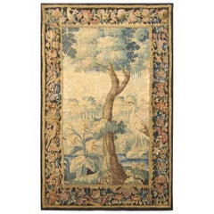 Flemish Verdure Landscape Tapestry Panel, with Large Tree and Foliate Border