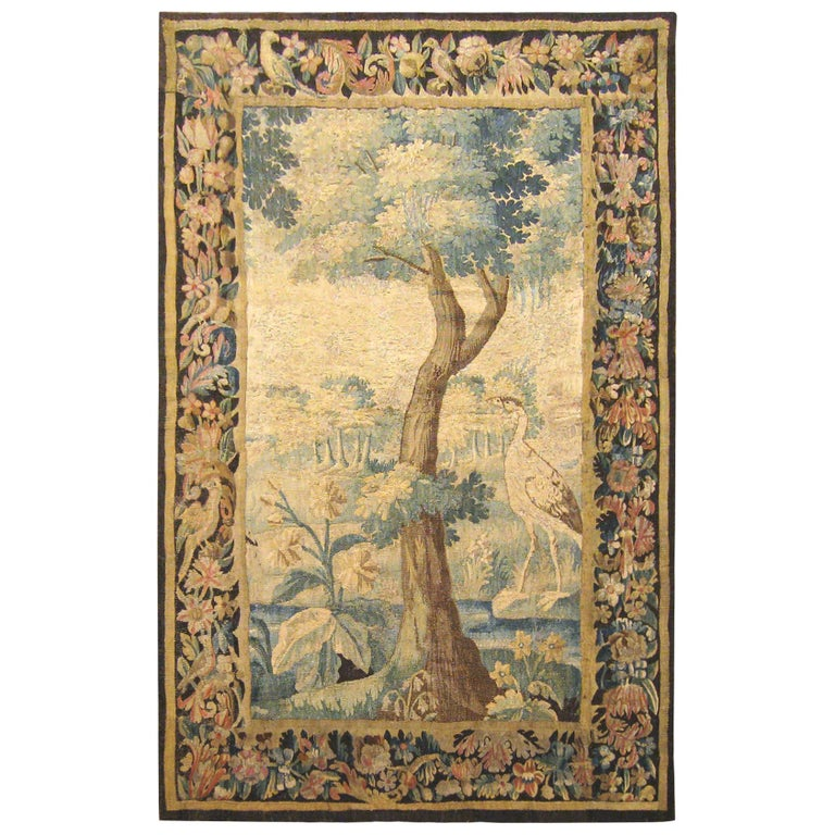 Flemish Verdure Landscape Tapestry Panel, with Large Tree and Foliate Border For Sale