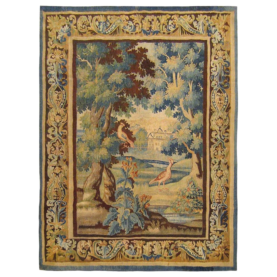 Flemish Verdure Landscape Tapestry, with Exotic Birds in a Lush Setting