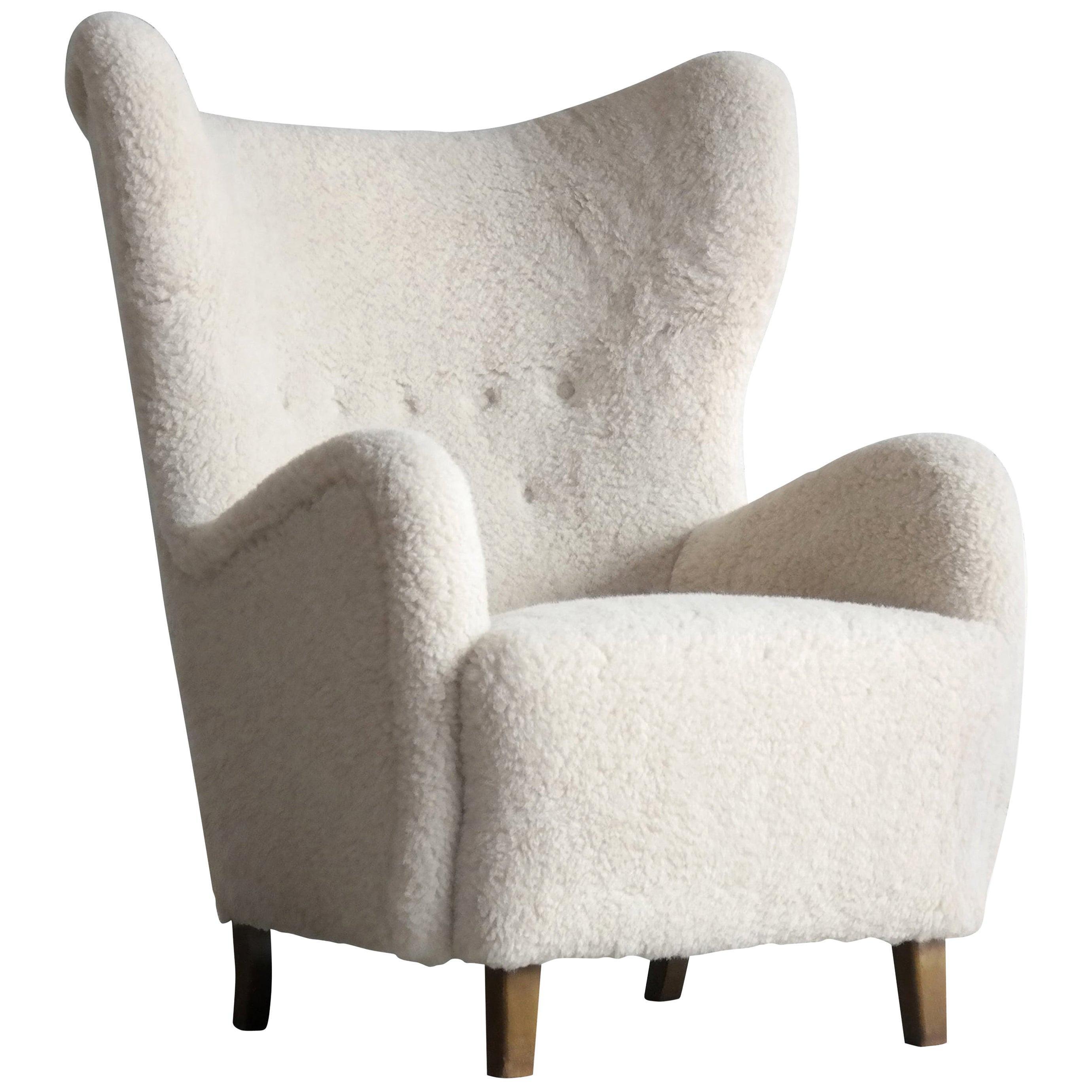 Flemming Lassen 1940s High Back Lounge Chair in Lambswool Danish, Midcentury