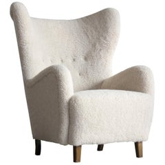 Flemming Lassen 1940s High Back Lounge Chair in Lambswool Danish, Midcentury
