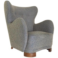 Flemming Lassen Attributed Lounge Chair in Boucle and Beech