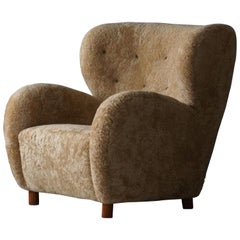 Flemming Lassen 'Attribution' Lounge Chair, Beige Sheepskin Beech, Denmark 1940s