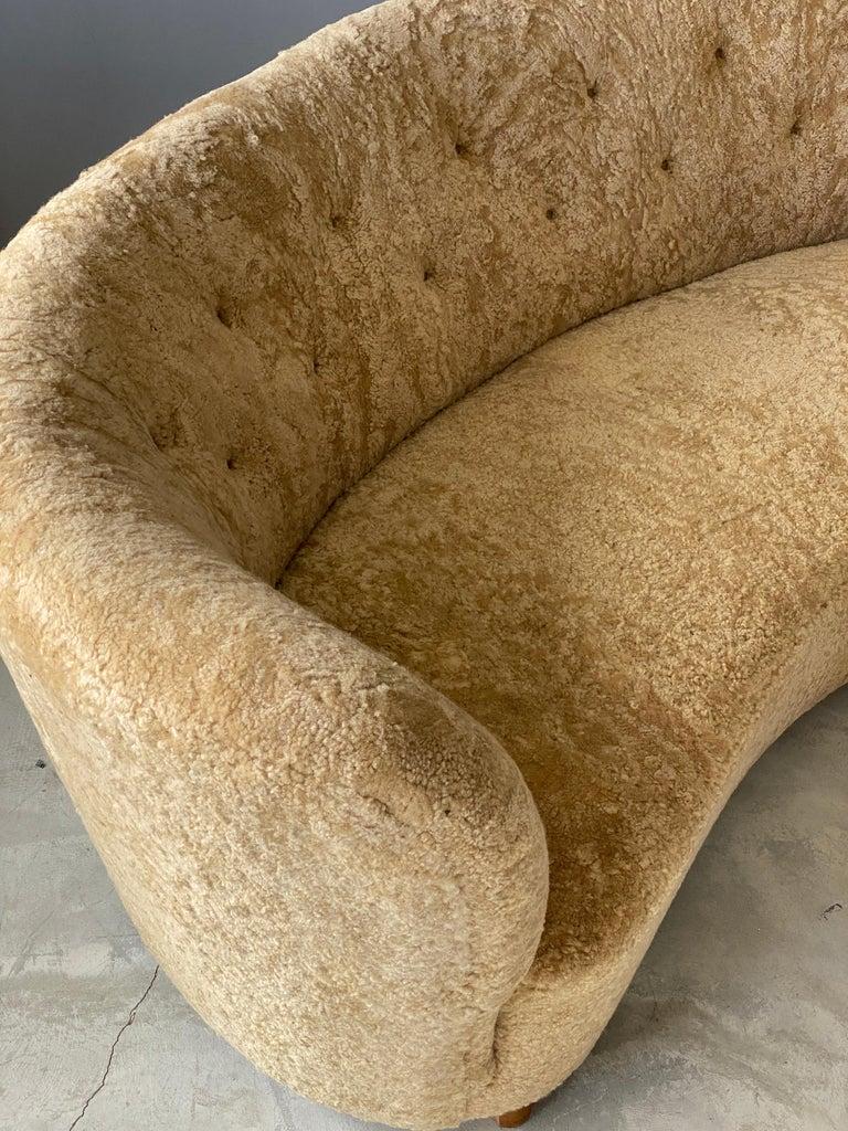 Mid-Century Modern Flemming Lassen 'Attribution' Organic Sofa, Sheepskin, Beech, Denmark 1940s For Sale