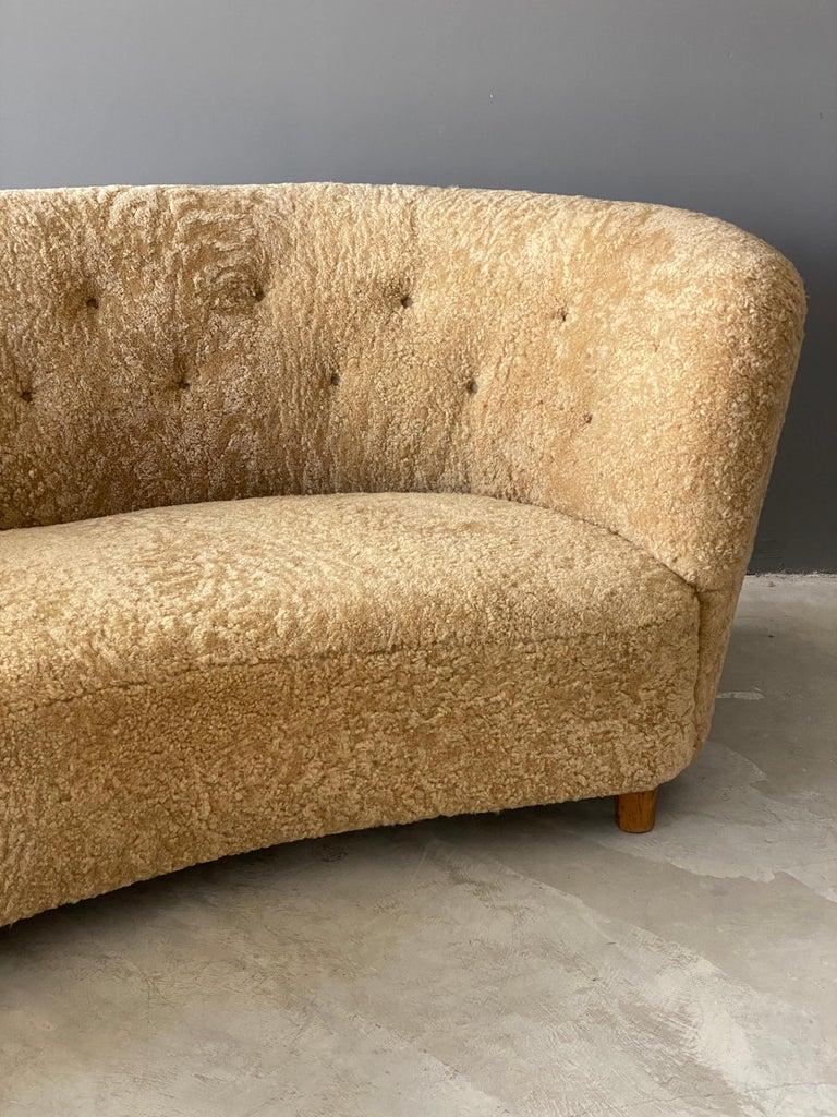 Danish Flemming Lassen 'Attribution' Organic Sofa, Sheepskin, Beech, Denmark 1940s For Sale