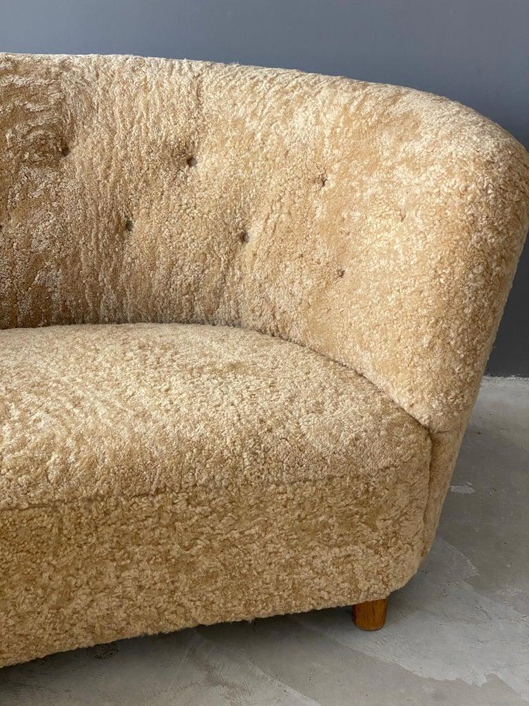 Mid-20th Century Flemming Lassen 'Attribution' Organic Sofa, Sheepskin, Beech, Denmark 1940s For Sale