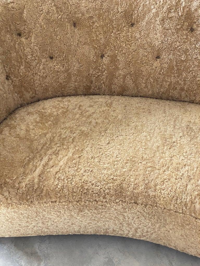 Flemming Lassen 'Attribution' Organic Sofa, Sheepskin, Beech, Denmark 1940s For Sale 1