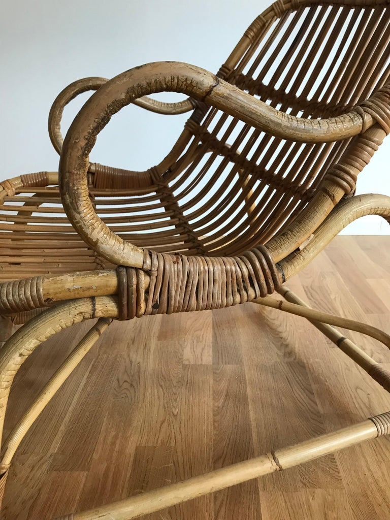 Flemming Lassen, Early Lounge Chair, Bamboo, Cane, E. V. A. Nissen & Co., 1940s For Sale 4