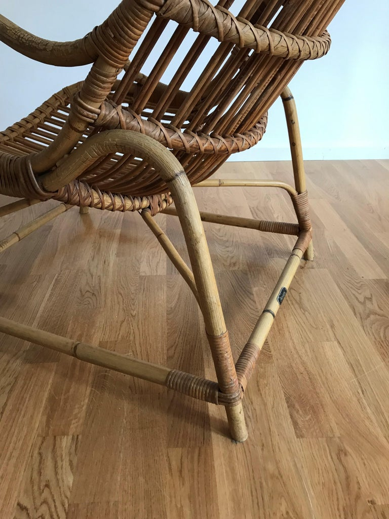 Flemming Lassen, Early Lounge Chair, Bamboo, Cane, E. V. A. Nissen & Co., 1940s For Sale 5