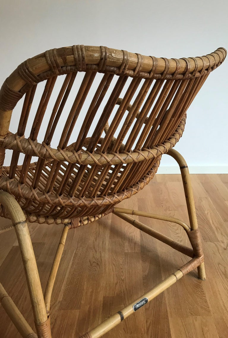 Flemming Lassen, Early Lounge Chair, Bamboo, Cane, E. V. A. Nissen & Co., 1940s For Sale 7
