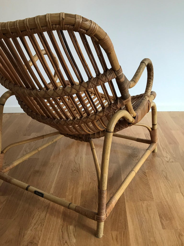 Flemming Lassen, Early Lounge Chair, Bamboo, Cane, E. V. A. Nissen & Co., 1940s For Sale 8