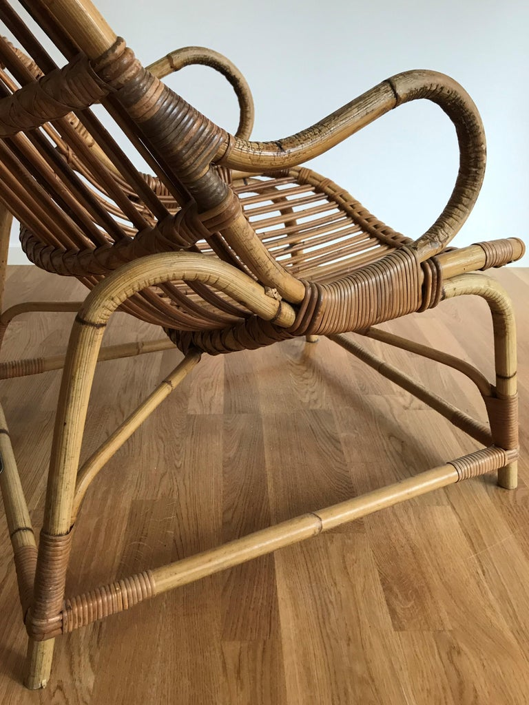 Flemming Lassen, Early Lounge Chair, Bamboo, Cane, E. V. A. Nissen & Co., 1940s For Sale 9