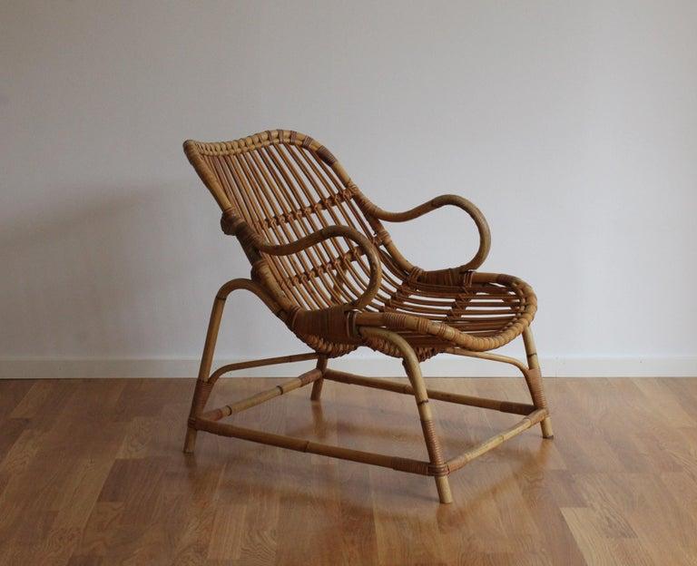 Scandinavian Modern Flemming Lassen, Early Lounge Chair, Bamboo, Cane, E. V. A. Nissen & Co., 1940s For Sale
