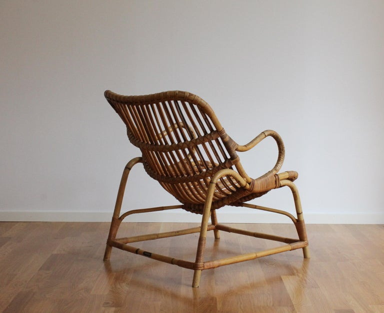 Danish Flemming Lassen, Early Lounge Chair, Bamboo, Cane, E. V. A. Nissen & Co., 1940s For Sale