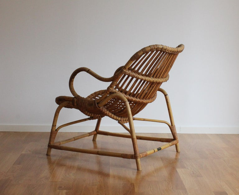 Mid-20th Century Flemming Lassen, Early Lounge Chair, Bamboo, Cane, E. V. A. Nissen & Co., 1940s For Sale