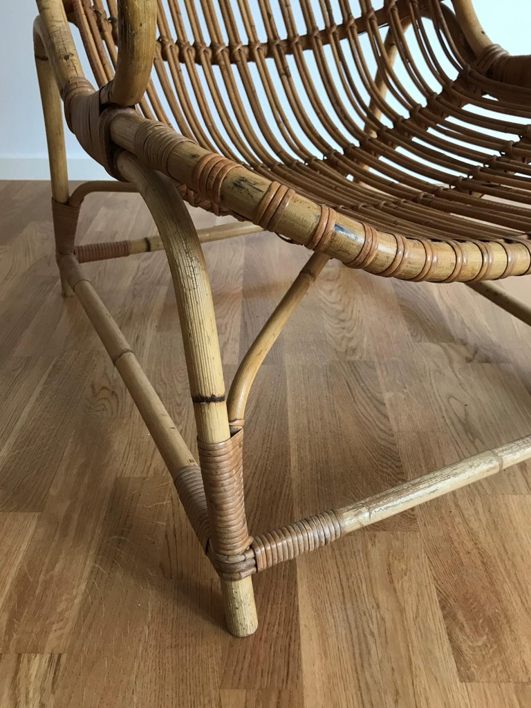 Flemming Lassen, Early Lounge Chair, Bamboo, Cane, E. V. A. Nissen & Co., 1940s For Sale 1