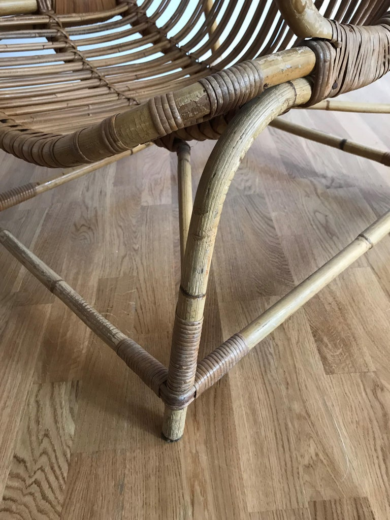 Flemming Lassen, Early Lounge Chair, Bamboo, Cane, E. V. A. Nissen & Co., 1940s For Sale 2