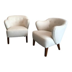 Flemming Lassen Pair of Easy Chairs in White Fabric, 1940s