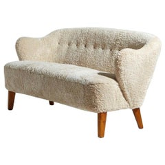 Flemming Lassen Settee in Beige Sheepskin, 1940s