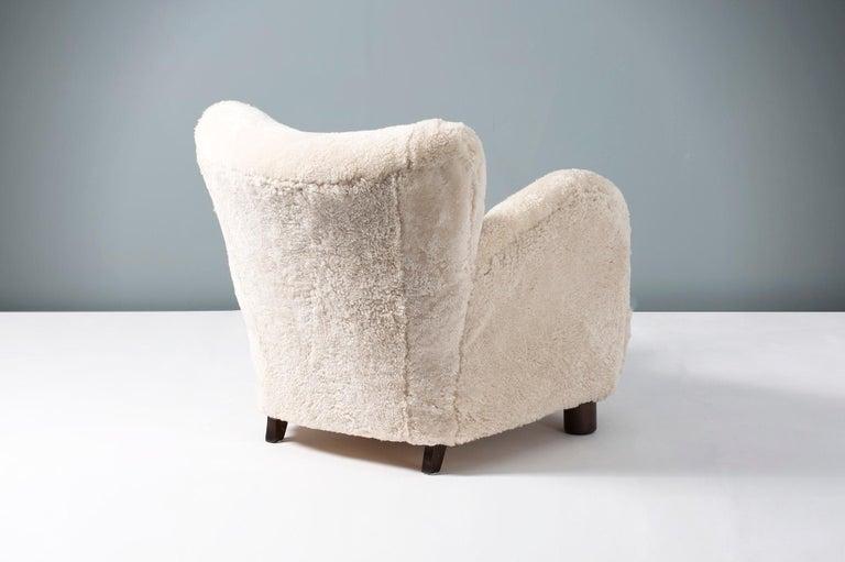 Flemming Lassen Style 1940s Sheepskin Armchair 1